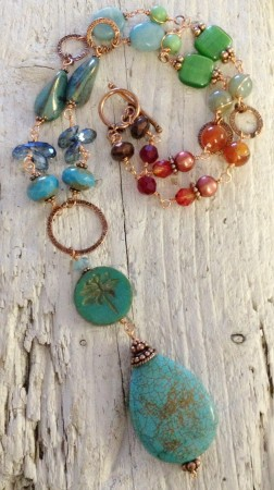 Copper Rainbow Necklace by Sarah Reid  - featured on Jewelry Making Journal