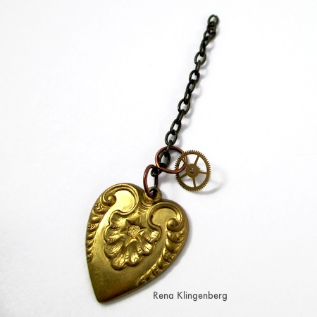 Attaching a cog to Boho Steampunk Earrings - tutorial by Rena Klingenberg