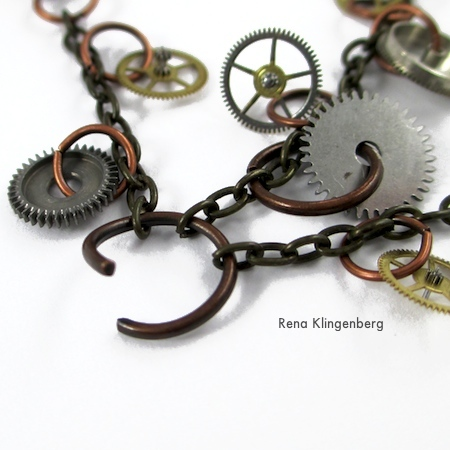 Finished chains on large jump ring for Boho Steampunk Earrings - tutorial by Rena Klingenberg