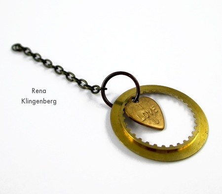 A charm within a charm for Boho Steampunk Earrings - tutorial by Rena Klingenberg
