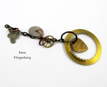 Finished chain for Boho Steampunk Earrings - tutorial by Rena Klingenberg