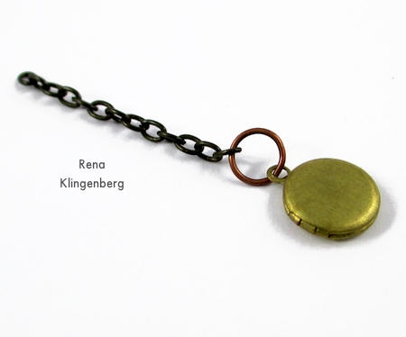 Tiny brass locket on a chain for Boho Steampunk Earrings - tutorial by Rena Klingenberg