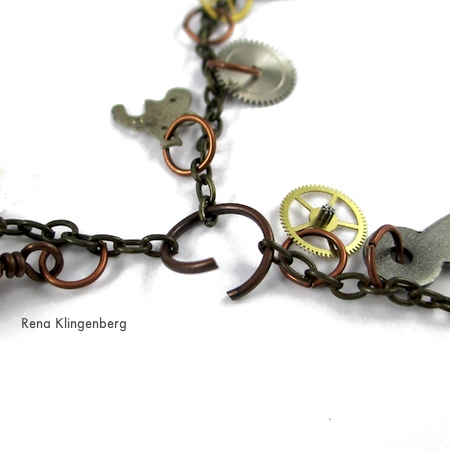 Stringing the chains together for Boho Steampunk Earrings - tutorial by Rena Klingenberg