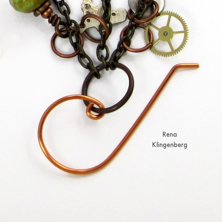 Attaching earwire to Boho Steampunk Earrings - tutorial by Rena Klingenberg