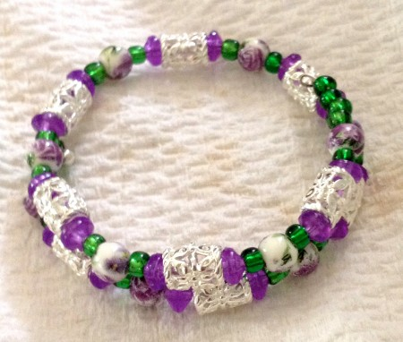 Purple, green & silver memory wire bracelet