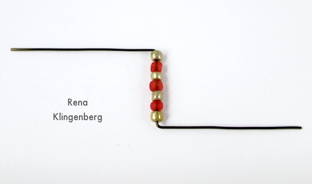 Beads on wire for Seed Bead Adjustable Wire Ring - tutorial by Rena Klingenberg