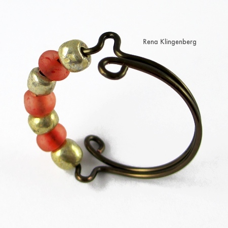 Seed Bead Adjustable Wire Ring - tutorial by Rena Klingenberg