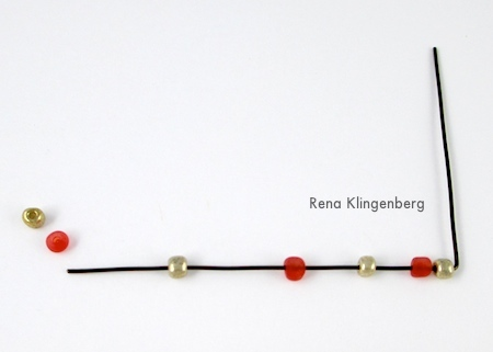 Stringing beads on wire for Seed Bead Adjustable Wire Ring - tutorial by Rena Klingenberg