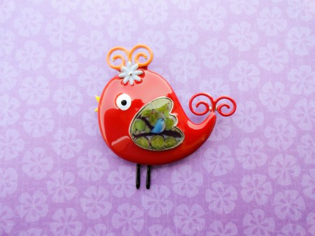 red Bird brooch