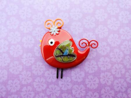 red Bird brooch