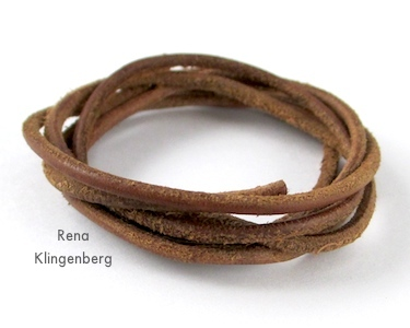 Leather cord for Adjustable Sliding Knot Necklace - tutorial by Rena Klingenberg