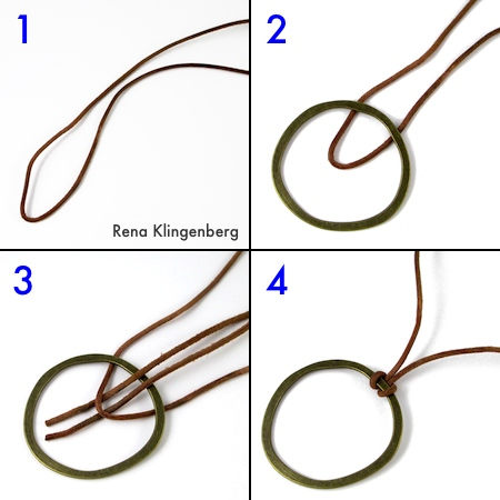 Lark's head knot pendant for Adjustable Sliding Knot Necklace - tutorial by Rena Klingenberg