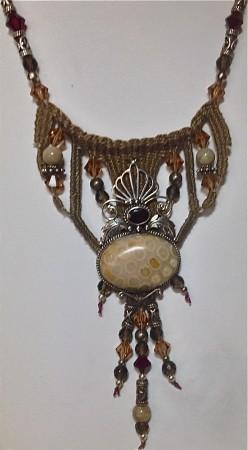 Earth walk- Garnet, fossil, fine threads, sterling silver, bali silver, onyx,swarovski crystal