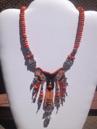 Mayan Travels sterling silver, bali silver, corral, fine threads..