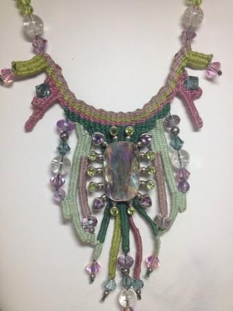 Mermaid treasures- sterling silver, mother of pearl, peridot, amethyst, swarovski crystal,