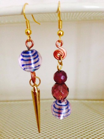 Purple Asymmetrical Earrings - Nidhi Kedia