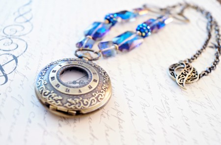 Purple and Turquoise Steampunk Pocket Watch Necklace - Melissa Arnold