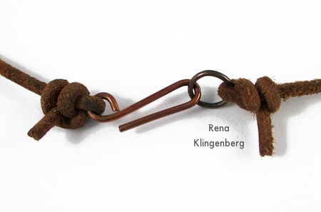 Clasp for Rustic Leather Cord and Bead Necklace - tutorial by Rena Klingenberg