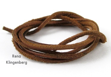 Leather cord for Rustic Leather Cord and Bead Necklace - tutorial by Rena Klingenberg