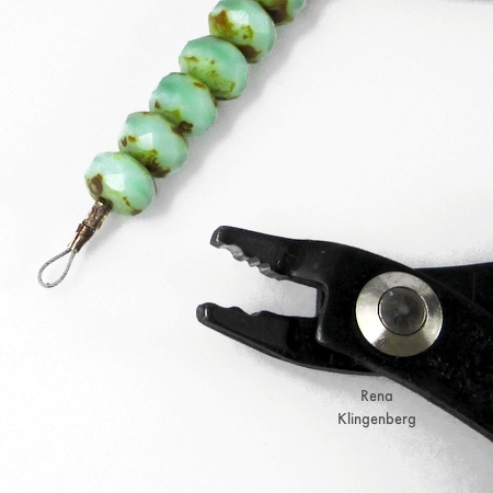 End beading wire in a loop - Rustic Leather Cord and Bead Necklace - tutorial by Rena Klingenberg