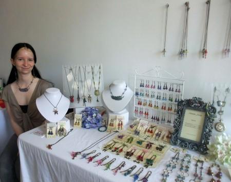 Melissa Arnold at her Saheta Jewelry Booth, Toronto Etsy Street Team Show