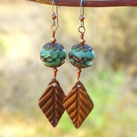 Autumn Aria earrings shown hanging
