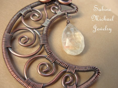 Wire Wrapped Filigree Crescent Moon Jewelry Making Journal