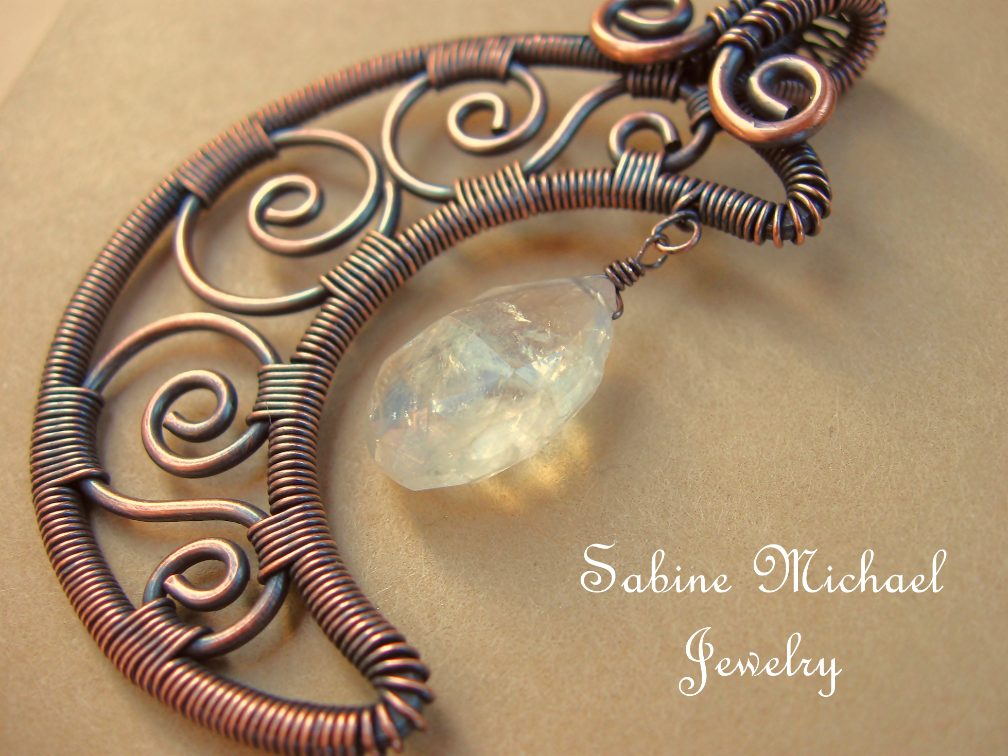Wire Wrapped Filigree Crescent Moon