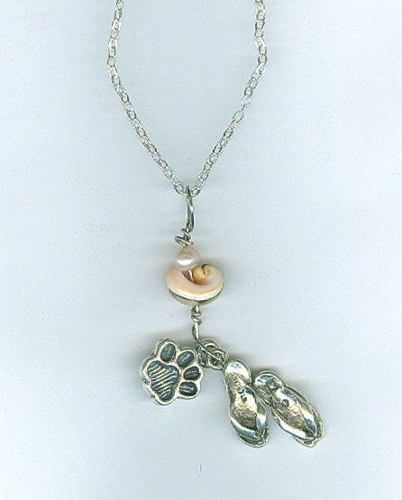 Paw Prints Along The Sand~Inspirational Pet Memorial Necklace