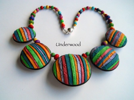 Polymer Clay Necklace. Colorful Hollow beads and reversible.
