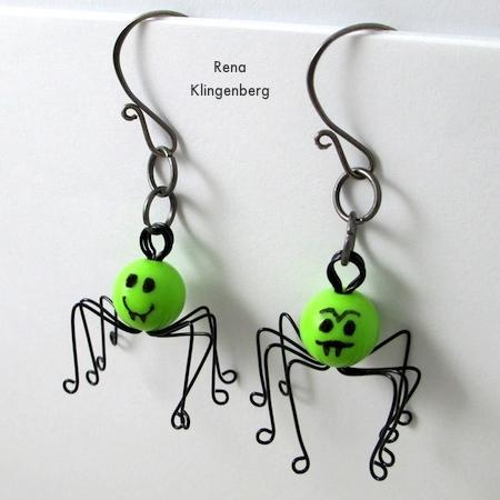 Creepy Crawly Spider Earrings - tutorial by Rena Klingenberg