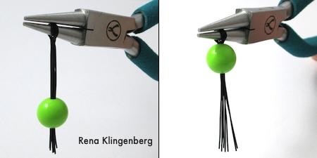 Sliding bead onto wires for Creepy Crawly Spider Earrings - tutorial by Rena Klingenberg