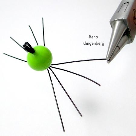 Making feet for Creepy Crawly Spider Earrings - tutorial by Rena Klingenberg