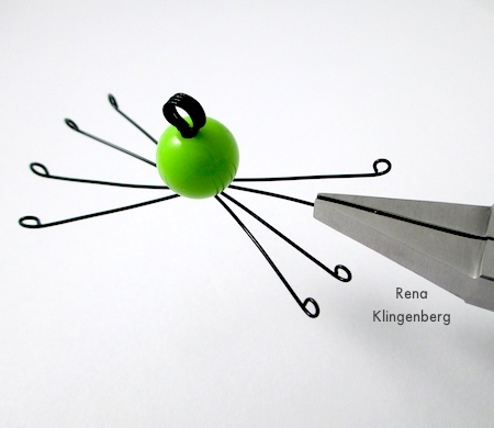 Straightening feet and legs - Creepy Crawly Spider Earrings - tutorial by Rena Klingenberg