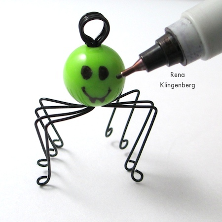 Drawing the face - Creepy Crawly Spider Earrings - tutorial by Rena Klingenberg