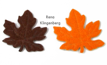 Fabric autumn leaves from the dollar store for earrings - Rena Klingenberg
