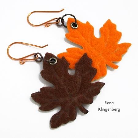 Brincos de folha de outono coloridos - tutorial por Rena Klingenberg