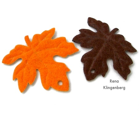 Punching holes in leaves for Colorful Autumn Leaf Earrings - tutorial by Rena Klingenberg