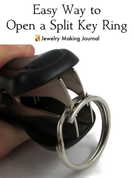 Easy Way to Open a Split Key Ring with a Staple Remover - Jewelry Making Journal