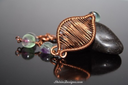 Wire-woven Leaf bracelet with Rainbow Fluorite and Copper wire