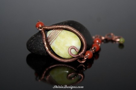 Another Leaf bracelet, this time with Serpentine and Red Jasper