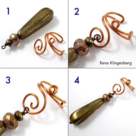 Adding a dangle to Wire Ear Cuff with Changeable Dangles - tutorial by Rena Klingenberg