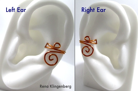 Left ear and right ear - Wire Ear Cuff with Changeable Dangles - tutorial by Rena Klingenberg
