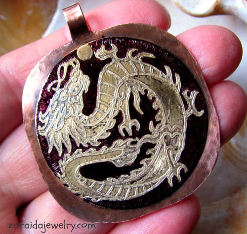 Etched Dragon on Brass and Copper Pendant