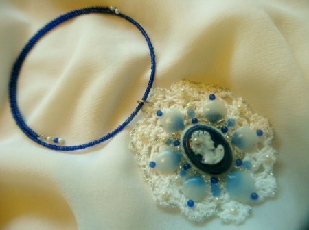 Classic Blue Oval Cameo and Lace Necklace