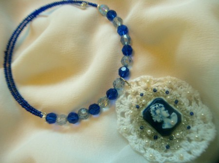 Classic Blue Square Cameo and Lace Necklace