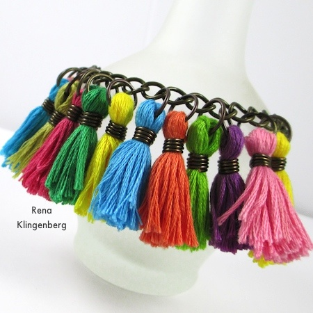 Cha-cha bracelet from Colorful Tassel Jewelry - tutorial by Rena Klingenberg