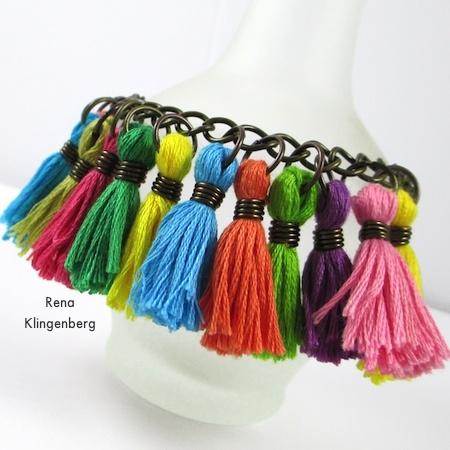 Cha-cha bracelet from Colorful Tassel Jewelry - tutorial by Rena Klingenberg