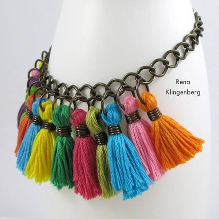 Colorful Tassel Jewelry - tutorial by Rena Klingenberg