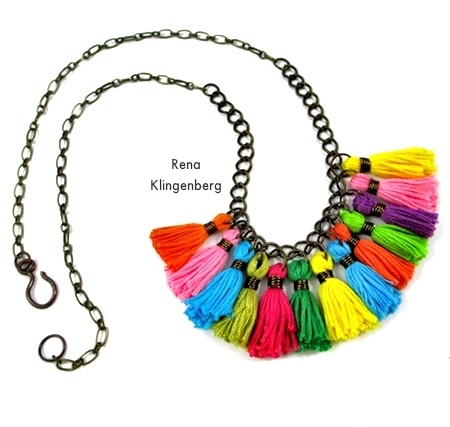 Long necklace from Colorful Tassel Jewelry - tutorial by Rena Klingenberg